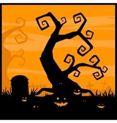 Halloween night background and evil pumpkin vector image