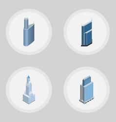 Isometric building set of cityscape urban vector