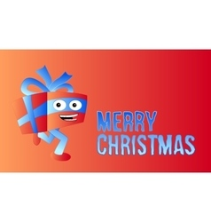 Merry christmas wish card with funny running gift vector