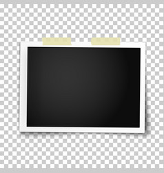 Realistic photo frame placed on wall vector