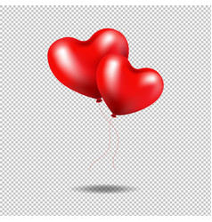 red balloons heart isolated transparent background vector image vector image