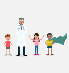 Senior doctor with a red clown nose with children vector