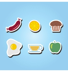 Set of monochrome icons with breakfast symbols vector