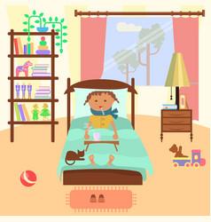 sick child girl vector image