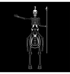 skeleton in spartan helmet with spear on the horse vector image vector image