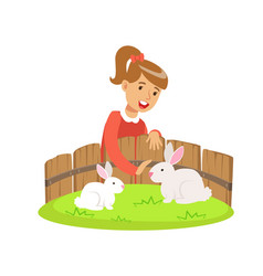 Smiling little girl petting two white rabbits in a vector