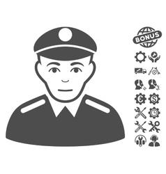 Soldier icon with tools bonus vector