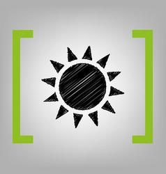 Sun sign black scribble icon vector