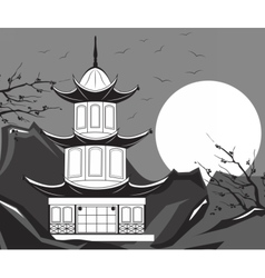 Traditional japanese temple vector