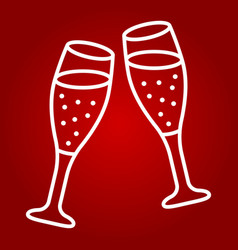 Two glasses of champagne line icon valentines day vector
