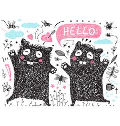 two kids friends black monsters for kids clip art vector image