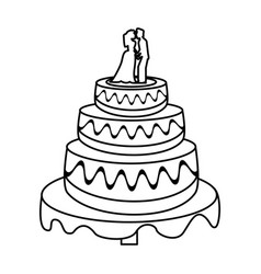 Wedding cake couple sweet outline vector
