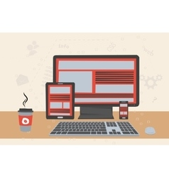 working place of programmer vector image
