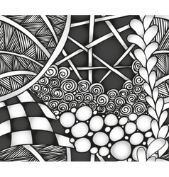 Abstract monochrome zentangle seamless pattern vector image