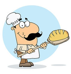 Caucasian cartoon bread maker man vector