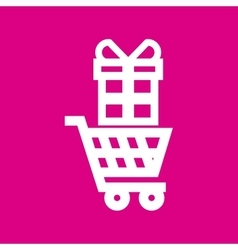 supermarket trolley and gift box vector image