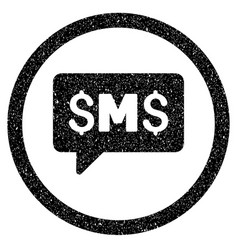 Sms message rounded icon rubber stamp vector