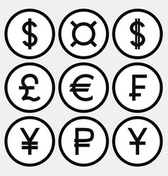 Set of monochrome icons with different currency vector