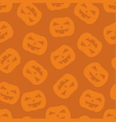 Halloween tile pattern with pumpkin on orange vector
