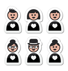 People in love valentines day icons set vector image