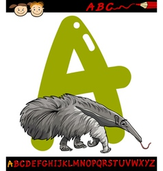 Letter a for anteater cartoon vector