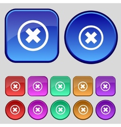 Cancel icon no sign set colour button vector