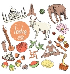 Set of tourist attractions india vector