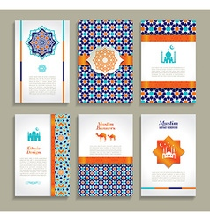 Banners set of ethnic design religion abstract set vector