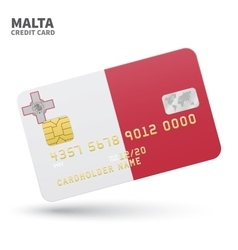 Credit card with malta flag background for bank vector
