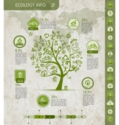 Ecology infographics with green tree sketch for vector