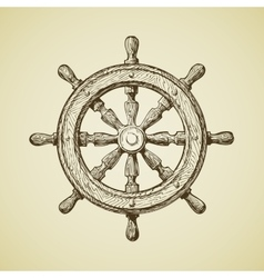 Hand-drawn vintage ships wheel in the old vector