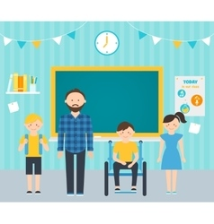 Male teacher with young students in classroom vector