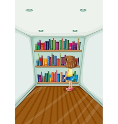 A young girl in front of the bookshelves with vector image