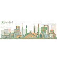 Abstract islamabad skyline with color buildings vector