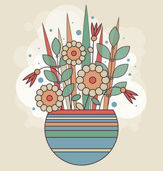 Abstract spring bunch of geometric flowers in a vector