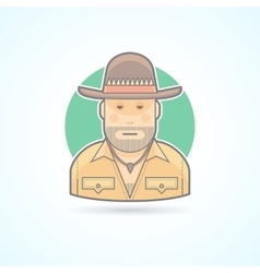 Australian hunter bushman icon vector