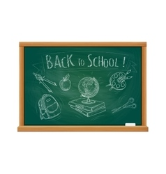 Back to school welcome chalk blackboard vector image