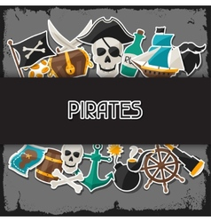 Background on pirate theme with stickers and vector