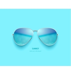 Beach sea and sky reflection sunglasses vector