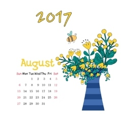 Calendar August 2017 Template Week starts vector image