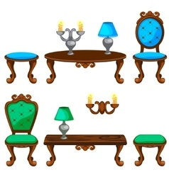 Cartoon colorful retro furniture vector