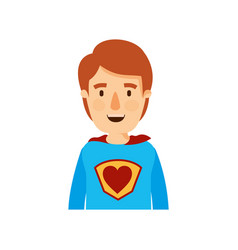 Colorful caricature half body super hero young vector