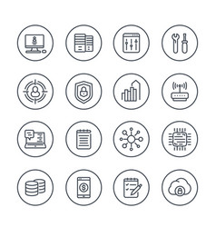 Communication and technology line icons on white vector