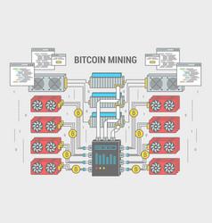 Concept flat banner scheme bitcoin mining vector