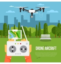 Drone technology concept with flying robots vector