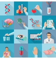 Flat isolated biotechnology icons set vector