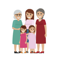 Four generations of women standing together vector