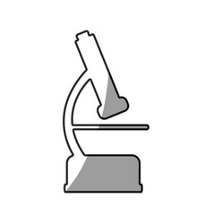 Grayscale silhouette with icon of microscope tool vector