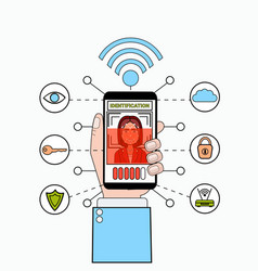 Hand holding smart phone scanning female user face vector