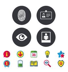 Identity id card badge icons eye symbol vector